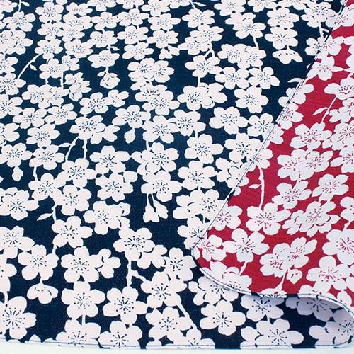 伊砂文様両面ふろしき しだれ桜(コン/アカ)104cm|crococko|02