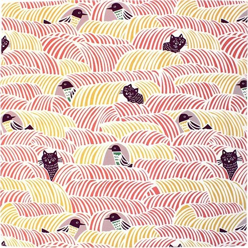 こはれ風呂敷 ねこととり(ピンク)70cm|crococko|02