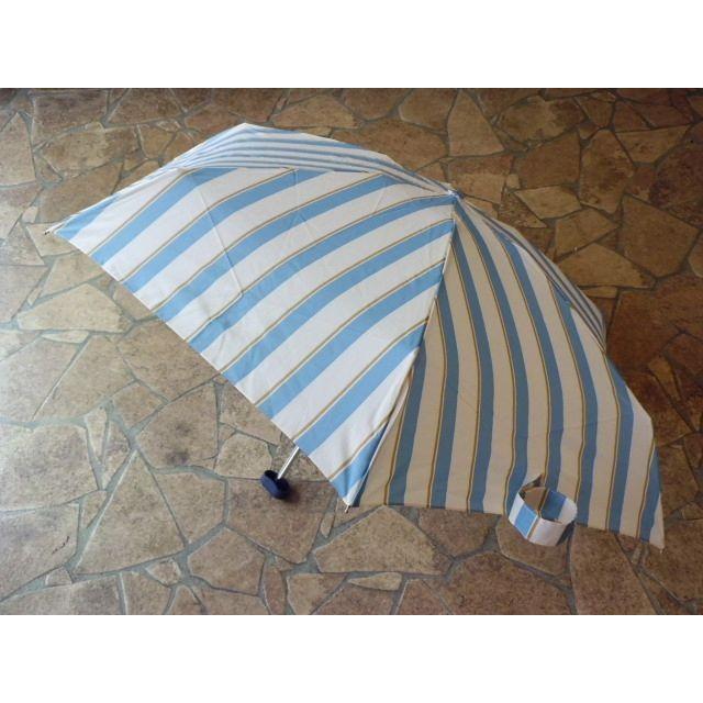 【SALE】コンパクトポーチ ボールドストライプ 折りたたみ雨傘(サックス) crococko