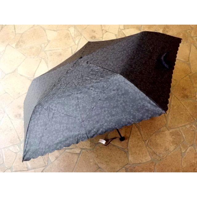 PUスーパーライト/シャドーフラワー折りたたみ日傘(ブラック)|crococko