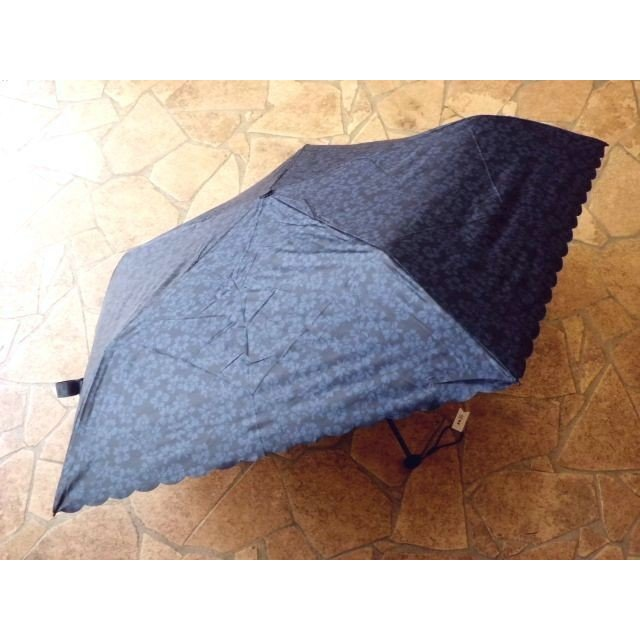 PUスーパーライト/シャドーフラワー 折りたたみ日傘(ネイビー)|crococko