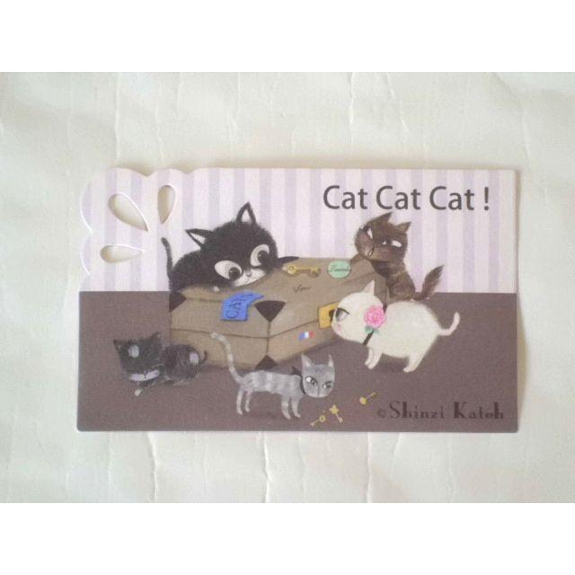 ShinziKatoh ミニグリーティングカード(catcatcat)|crococko|02