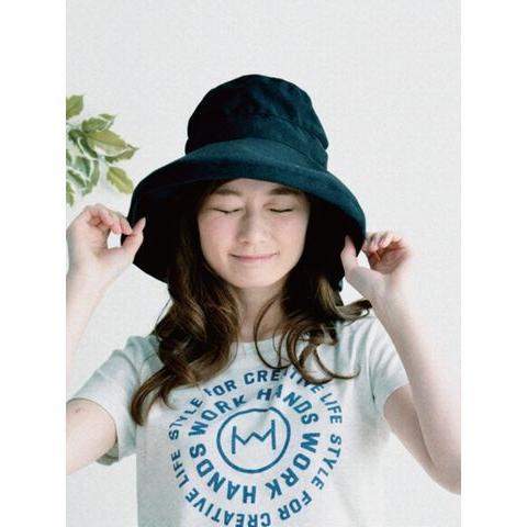 ツバ広女優帽(ブラック) crococko