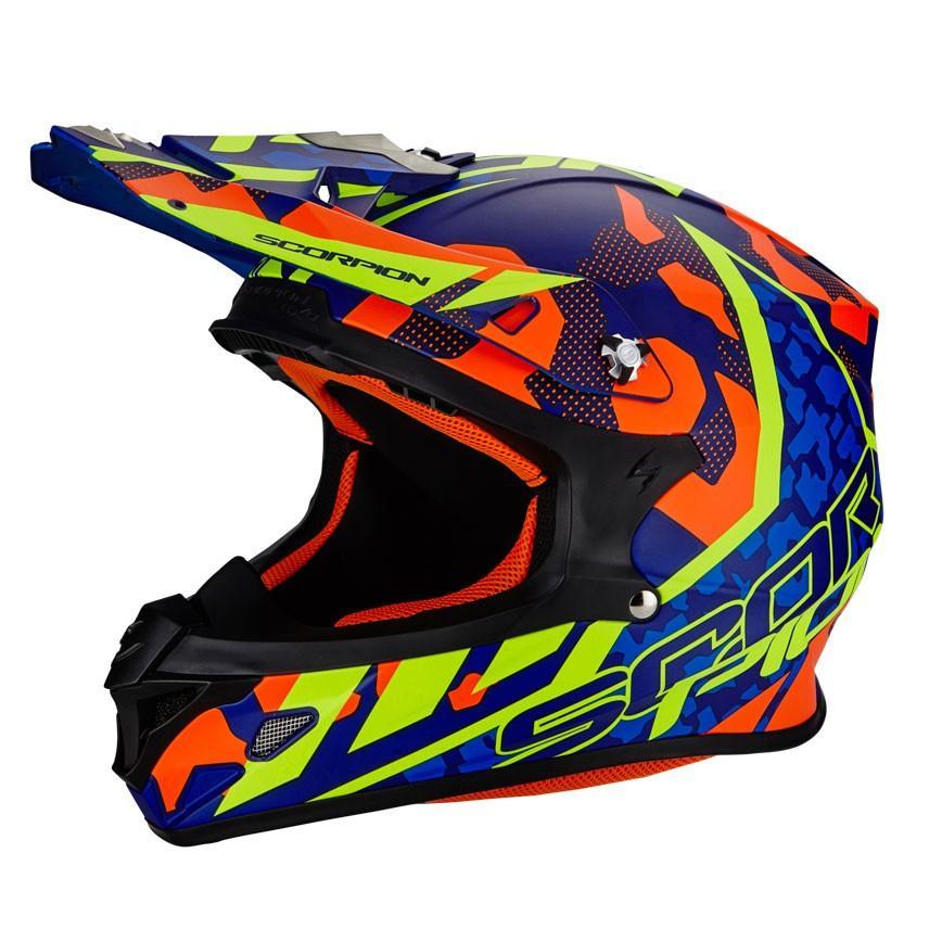 Scorpion Vx-21 Air Furio モトクロスヘルメット オフロード MX バイク メンズ ダート ブルーオレンジイエロー