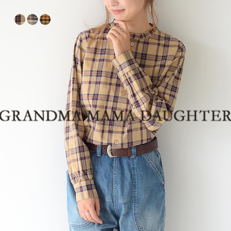 グランマママドーター GRANDMA MAMA DAUGHTER フリルカラー チェック シャツ ブラウス レディース トップス GS2032043 送料無料 crouka