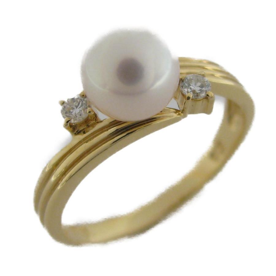 新品本物 ジュエリー パールリング 指輪 ゴールド K18YG(750)イエローゴールド×パール 6.5mm×ダイヤモンド 0.07ct ランクS 11.5号, エタジマシ 3fbbb68e