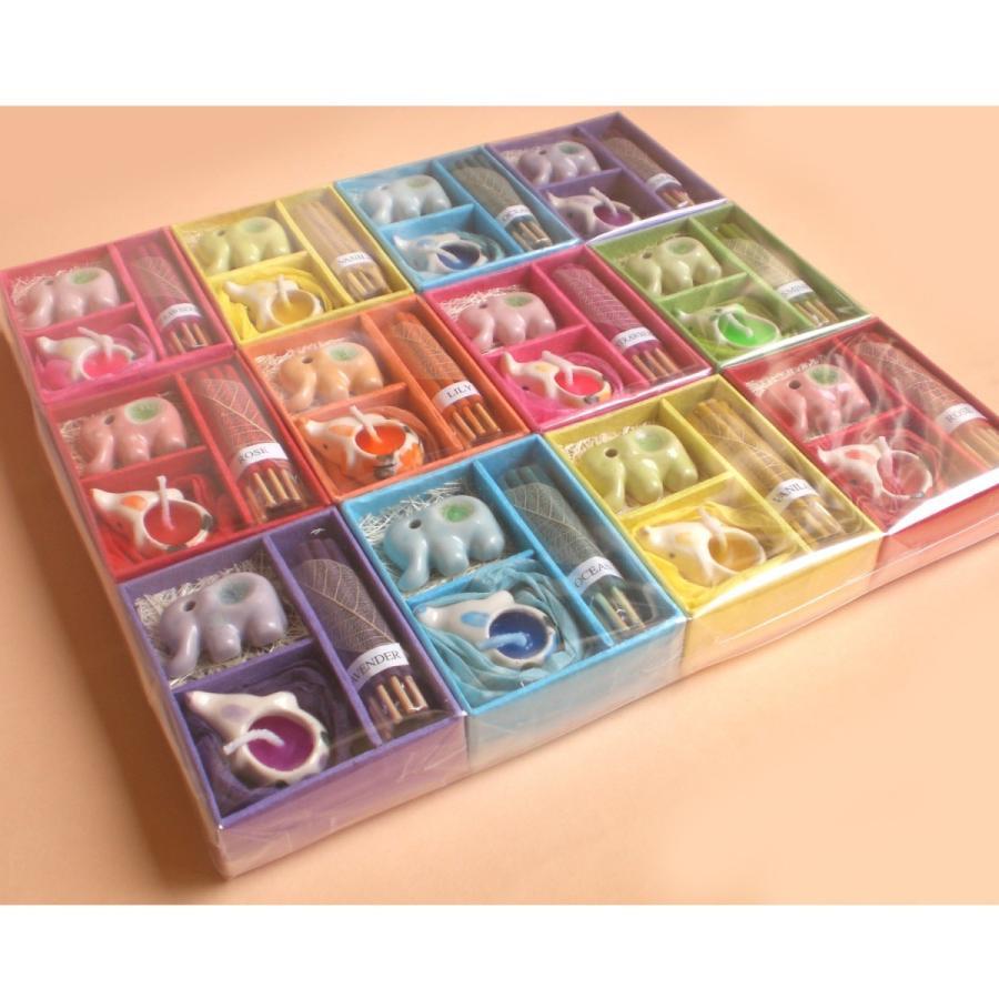 【12個セット】アロマギフトBOXお買い得パック12個入り 色と香りおまかせで届くアロマキャンドルとお香のギフトセット サンキューシール付 退職プチギフト|csselect|08