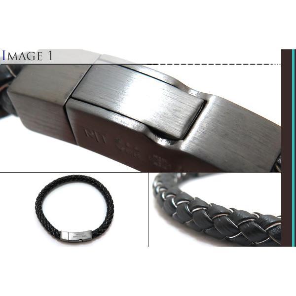 (ポイント10倍)TATEOSSIAN タテオシアン レザーシルバークリックトッコブレスレット(マットブラックロジウム&ブラック&グレー) ブランド|cufflink|03