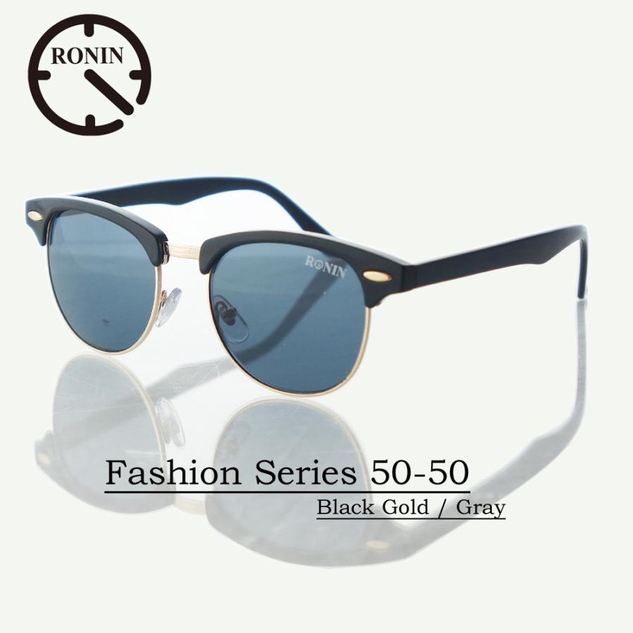 UVカット ファッション グラス Ronin Eyewear ロニンアイウェアー Fashion Series NO5524A31 50-50 黒 ゴールド / Gray