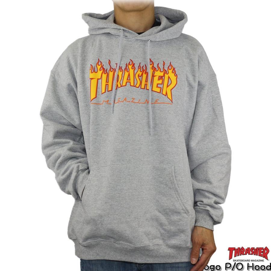 パーカー Thrasher スラッシャー Flame Logo P/O Hood (Gray) フレームロゴ プルオーバー フーディー スケートボード スケボー 長袖