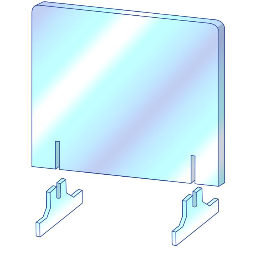 [プラポート公式] 飛沫防止パーテーション Lサイズ H650×W1200 高透明PET樹脂使用 正面タイプ窓なし [日本製]|cutpla|05