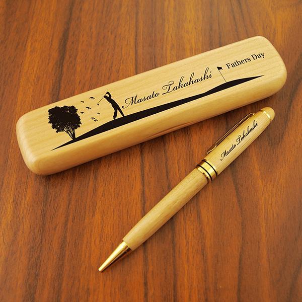 デザインが選べる 名入れ ボールペン ペンケースセット 木製 無垢(ナチュラルメープル) 母の日 2021|d-craft|02