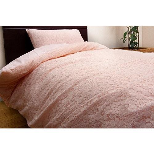 イケヒコ 布団カバー 洗える ダブル ベーシック レース 『フローラル 掛けカバーLS』 ピンク 約190×210cm