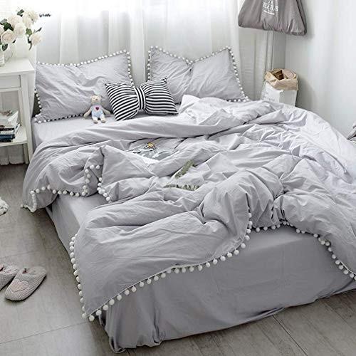 ライトグレー寝具カバー/可愛いホワイトポンポン掛け布団カバー クイーンと枕カバー2枚 クイーンと枕カバー2枚 クイーンと枕カバー2枚 a8d