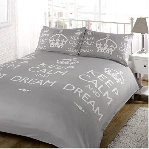【英国雑貨】KEEP CALM And And And Dream ベッドカバー セット シングル グレイ [並行輸入品] f37