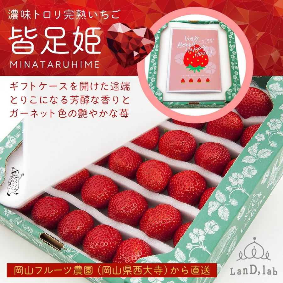 いちごの国ギフト[2Lサイズ(36粒)]濃味トロリ完熟いちご『皆足姫(みなたるひめ)』|daiki-foods|04