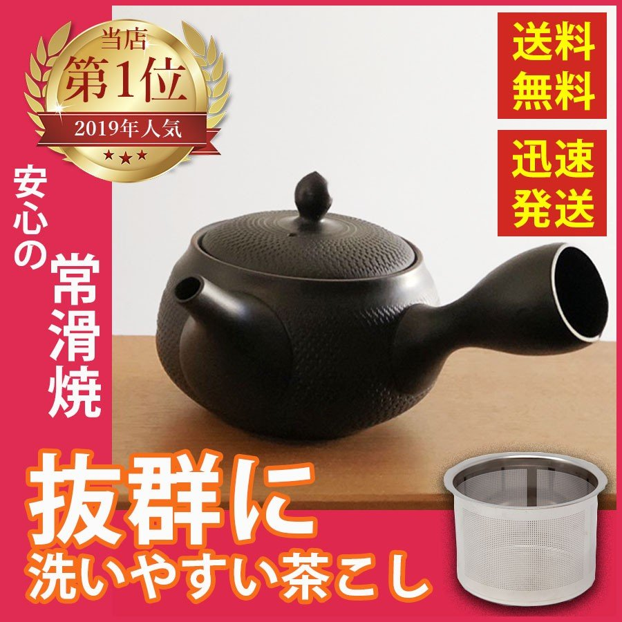 常滑焼 急須 黒 深蒸し 日本製 ステンレス 茶こし 黒泥 300ml きつさこ daily-central