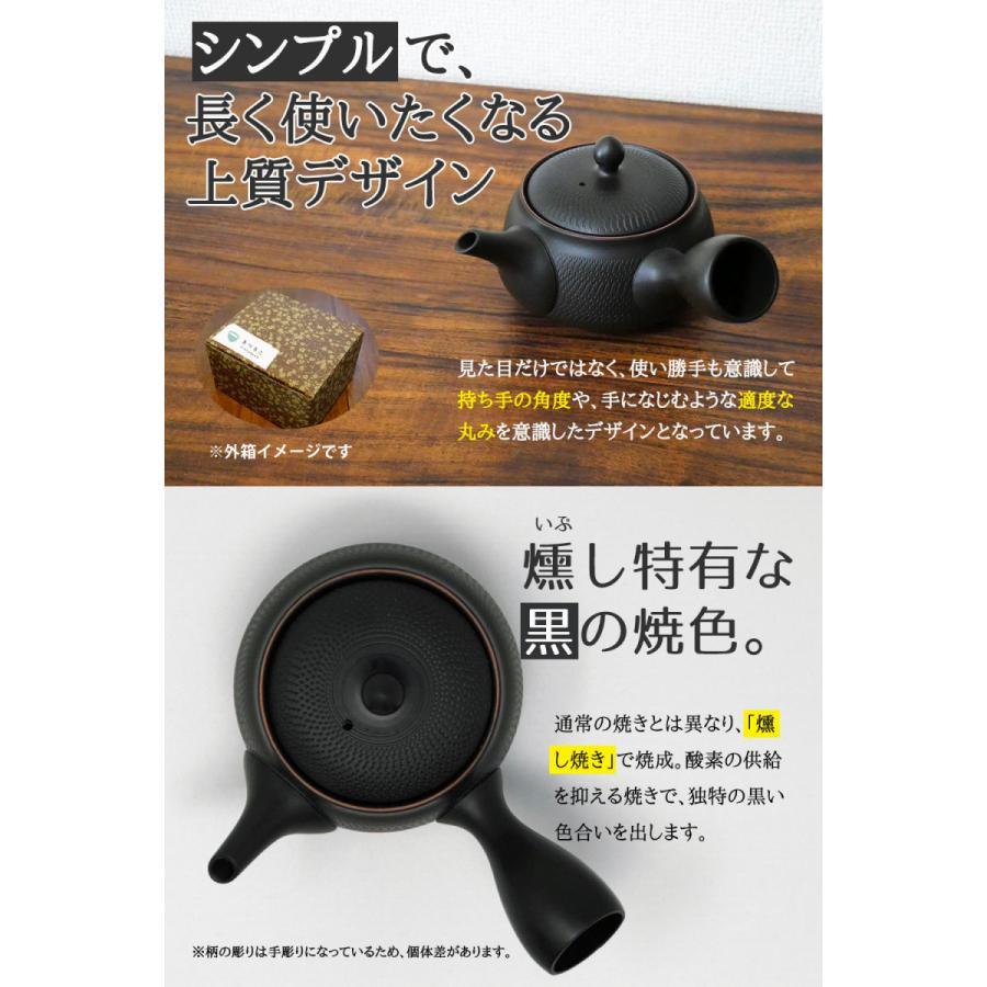 常滑焼 急須 黒 深蒸し 日本製 ステンレス 茶こし 黒泥 300ml きつさこ daily-central 07