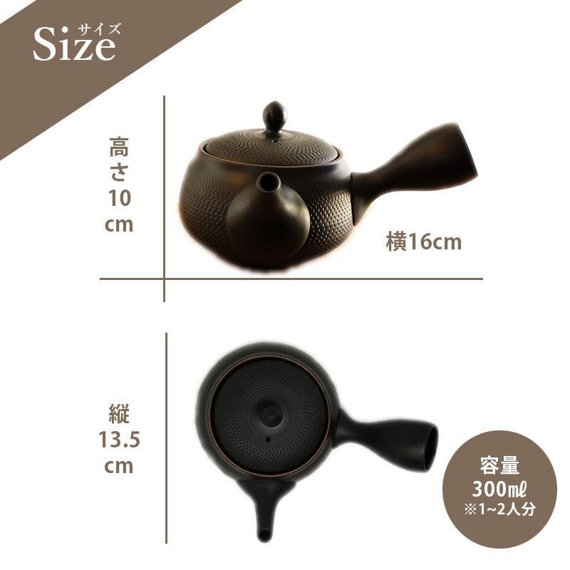 常滑焼 急須 黒 深蒸し 日本製 ステンレス 茶こし 黒泥 300ml きつさこ daily-central 08