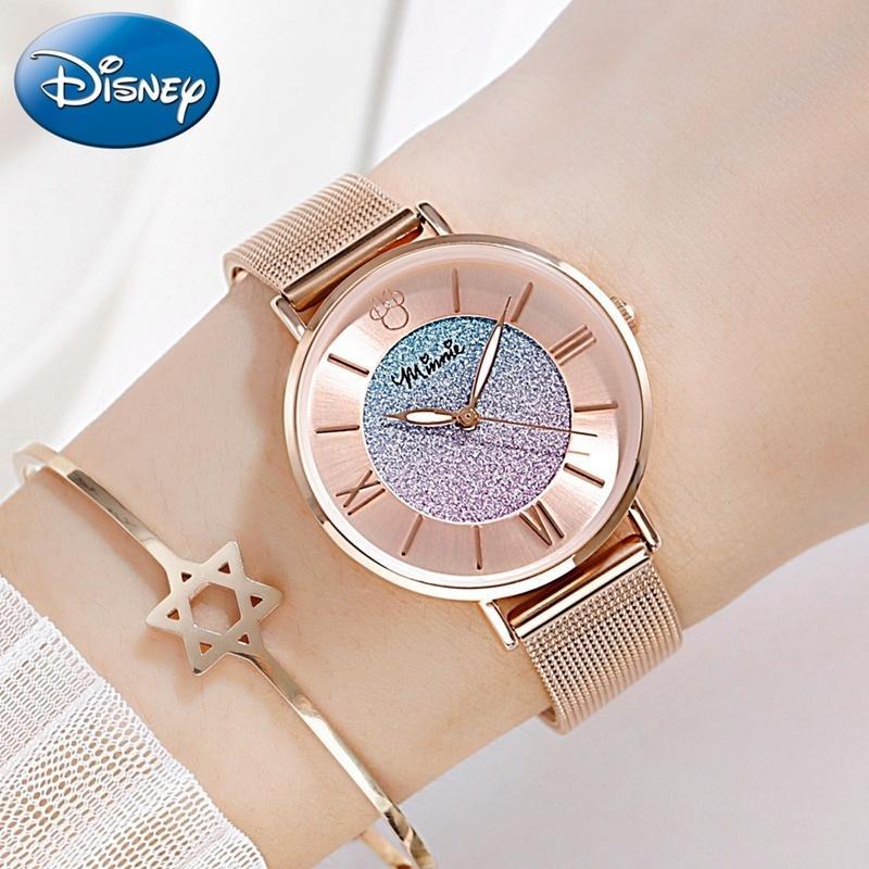 レディース 腕時計 ミニーマウス カラフルな星空 ステンレス鋼 クォーツ 防水 高級 ディズニー 超薄型 ローズゴールド daimachi