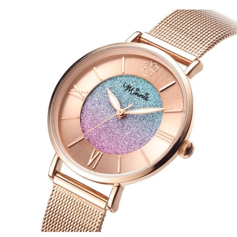 レディース 腕時計 ミニーマウス カラフルな星空 ステンレス鋼 クォーツ 防水 高級 ディズニー 超薄型 ローズゴールド daimachi 02