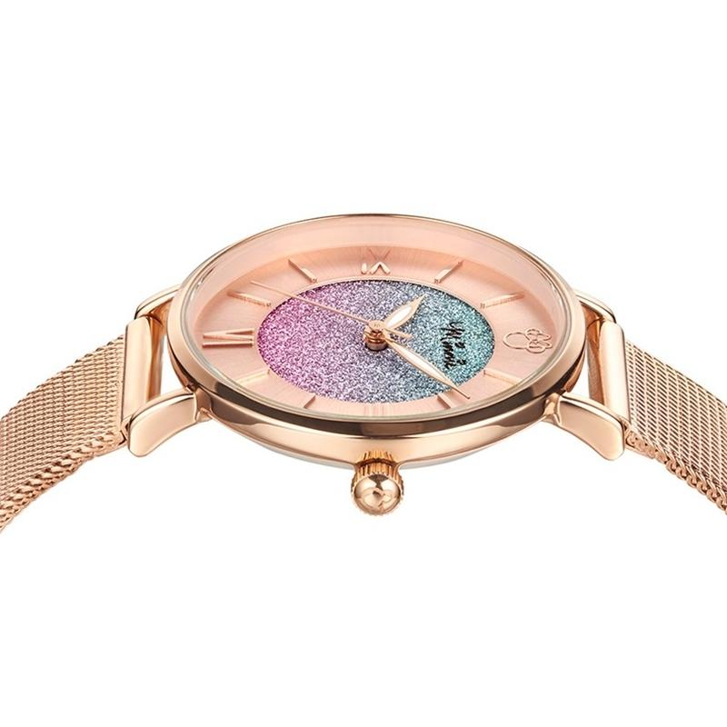 レディース 腕時計 ミニーマウス カラフルな星空 ステンレス鋼 クォーツ 防水 高級 ディズニー 超薄型 ローズゴールド daimachi 03