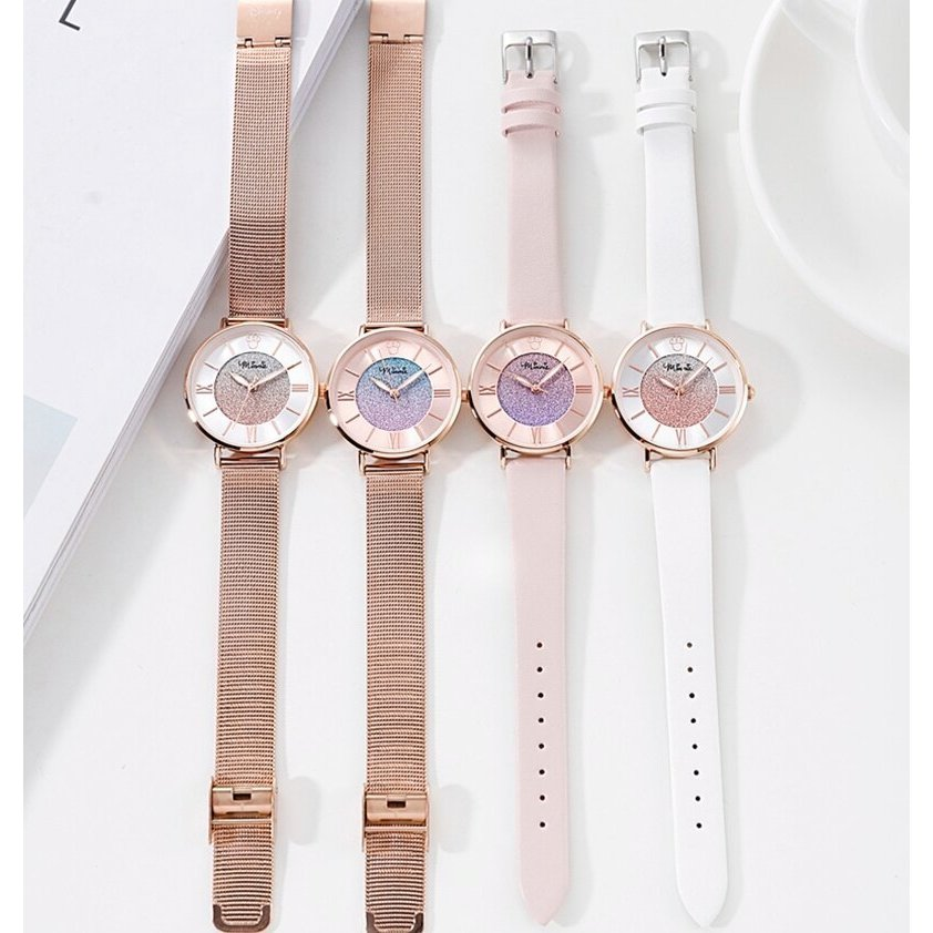 レディース 腕時計 ミニーマウス カラフルな星空 ステンレス鋼 クォーツ 防水 高級 ディズニー 超薄型 ローズゴールド daimachi 05