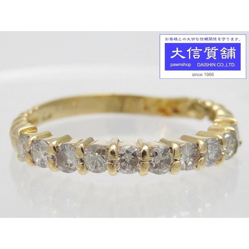 国産品 K18 イエローゴールド ダイヤリング D0.50ct 12号 1.9g A- C-6780, 豊浦町 14c0fa66