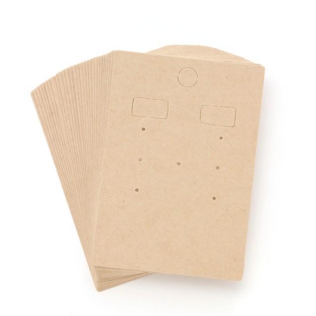 アクセサリー台紙 L(穴上) ピアス イヤリング用 クラフト紙 47×67mm 30枚 D080|daishiyapro|02