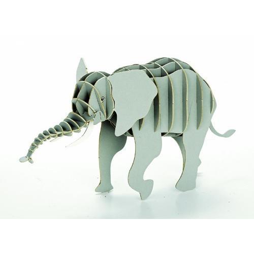 立体 ペーパークラフト ウラノ 3Dペーパーパズル アフリカゾウ  (送料無料・小型便にて配送)|dambool-crafts