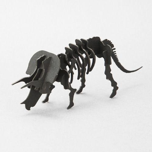 立体 ペーパークラフト ウラノ 3Dペーパーパズル トリケラトプス(ブラック)(送料無料・小型便にて配送) dambool-crafts