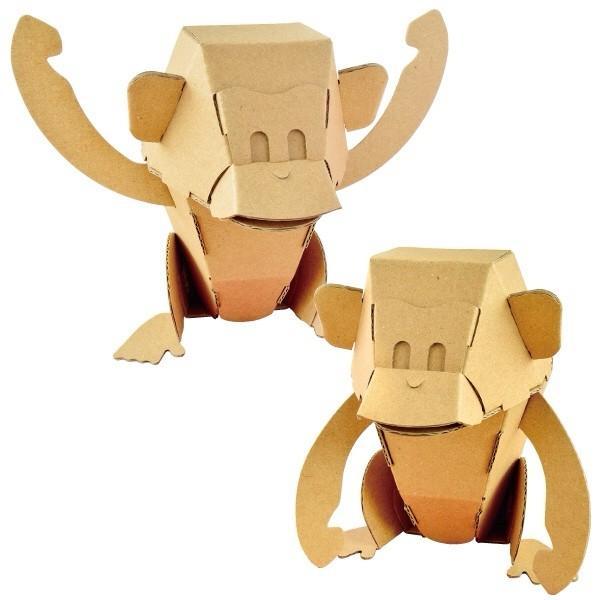 ダンボール  工作 キット クラフト ハコモ hacomo kids 猿(送料無料・小型便にて配送)|dambool-crafts