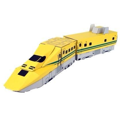 ダンボール クラフト 工作 キット 新幹線 ハコモ hacomo ハッピーレール 923形ドクターイエロー(送料無料・小型便にて配送)|dambool-crafts