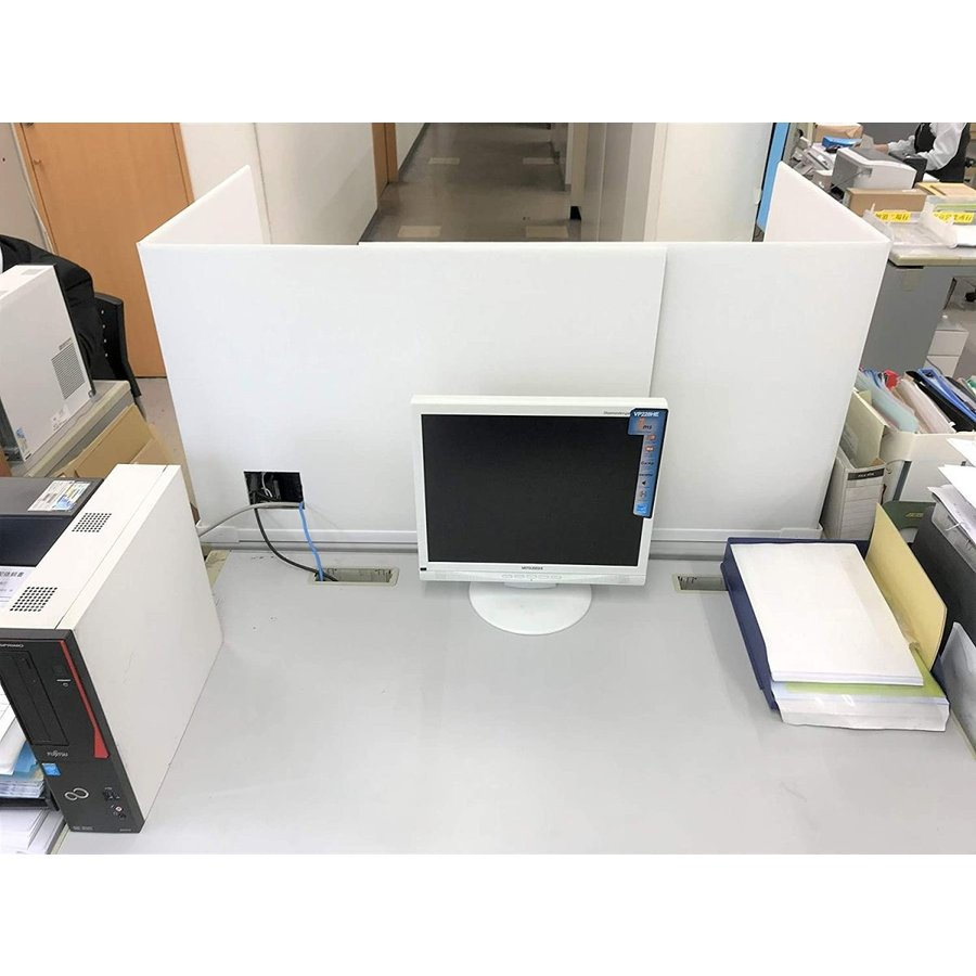 デスク用パーテーション 仕切り 間仕切り オフィス ウイルス 飛沫 対策 1ケース(2セット 4枚入り) 卓上 おしゃれ 白 ダンボール テレワーク 個室 シキリダナ danbolu-honpo 04