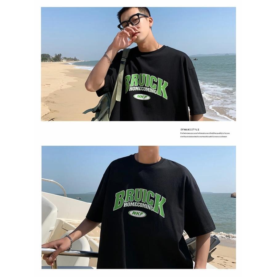 Tシャツ メンズ 半袖 オーバーサイズ ビッグシルエット カレッジロゴプリント ブランド おしゃれ 韓国 ファッション ストリート系 服 夏|dance3|07