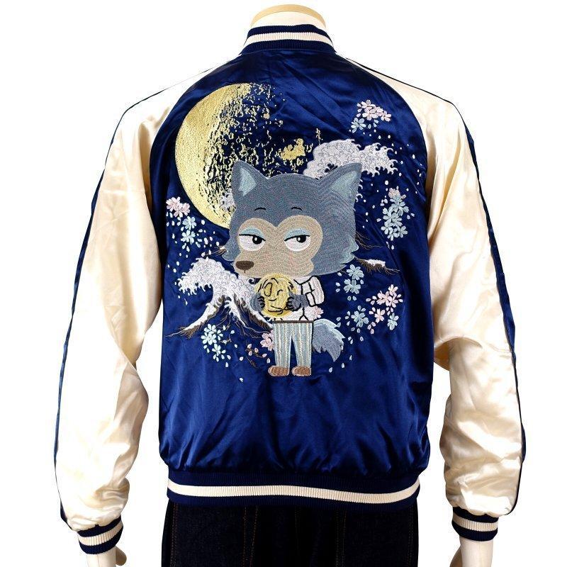 月とレゴシ刺繍スカジャン BRSJ-001 【BEASTARS Design produced by Sanrio × SwitchPlanning】 dandara 03