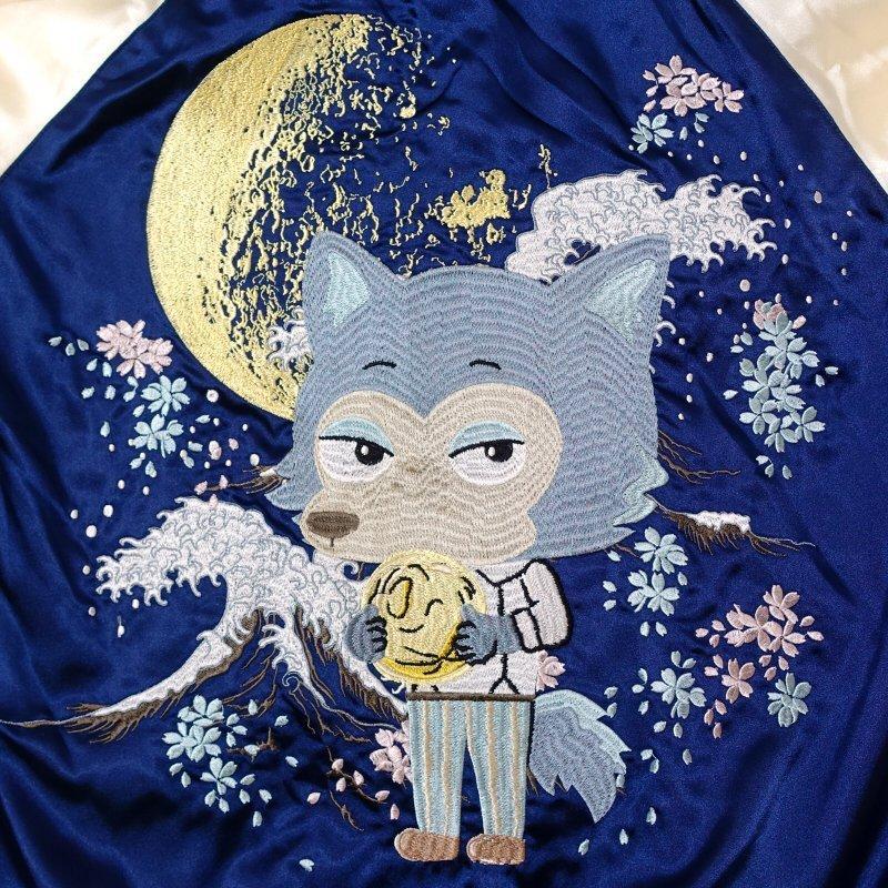 月とレゴシ刺繍スカジャン BRSJ-001 【BEASTARS Design produced by Sanrio × SwitchPlanning】 dandara 06