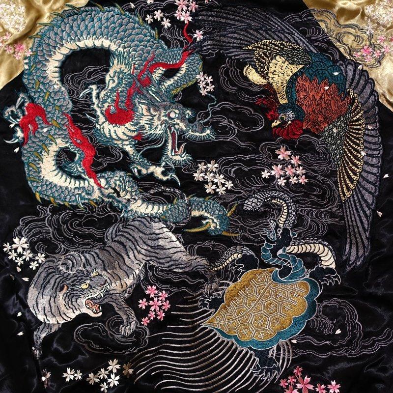 四神刺繍花旅さとりコラボスカジャン 花旅楽団×satori HSSJ-003 和柄 dandara 07