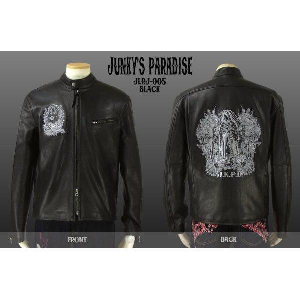 Junky's Paradise JLRJ-005 合掌マリア柄刺繍シングルライダースジャケット JKPD dandara 02