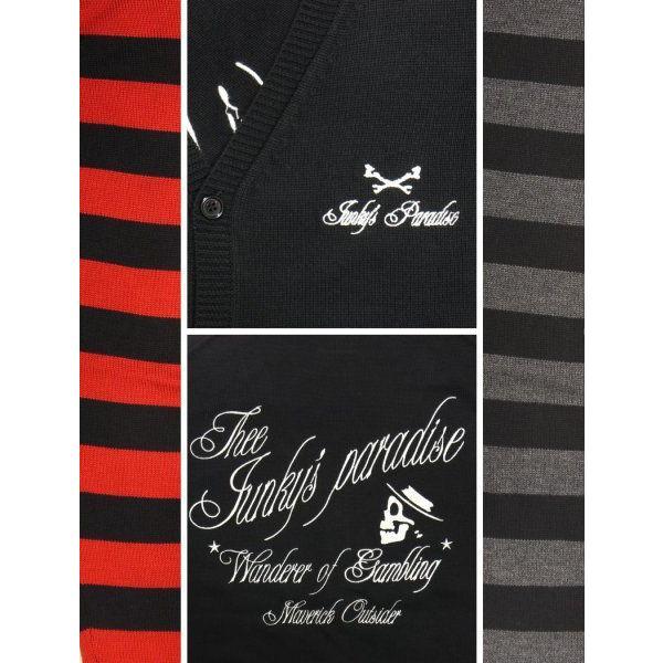 Junky's Paradise JNT-001 スカルロゴ刺繍袖ボーダーVネックカーディガン|dandara|04