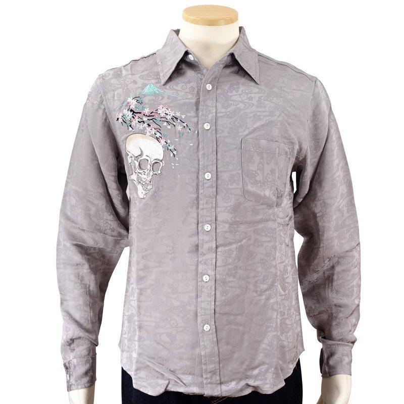 桜とがしゃ髑髏刺繍ジャガードシャツ  LS-001 花旅楽団 和柄|dandara|02