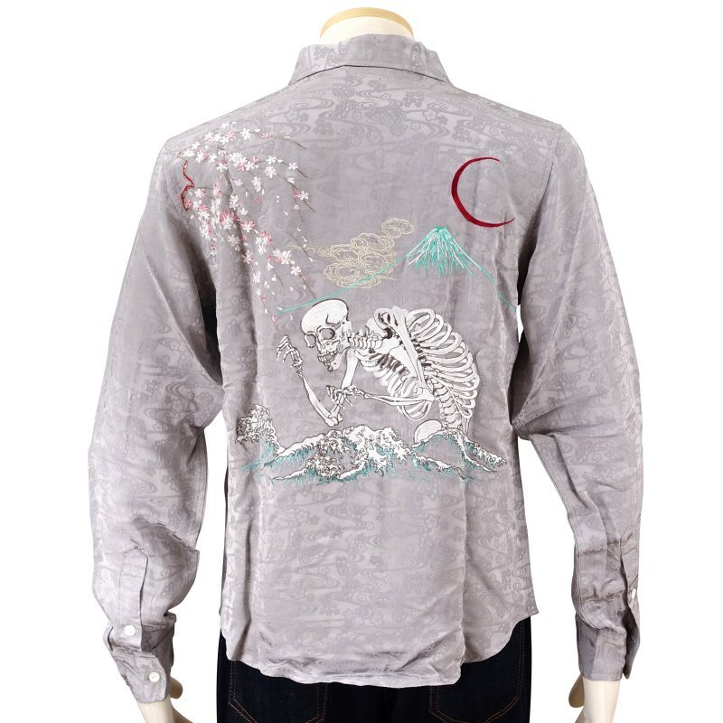 桜とがしゃ髑髏刺繍ジャガードシャツ  LS-001 花旅楽団 和柄|dandara|03