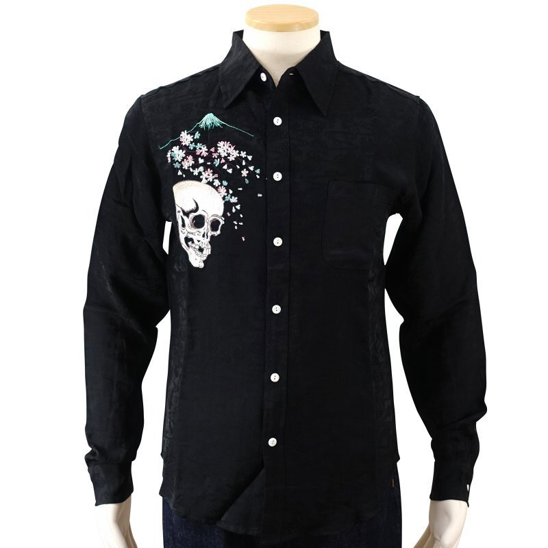 桜とがしゃ髑髏刺繍ジャガードシャツ  LS-001 花旅楽団 和柄|dandara|04