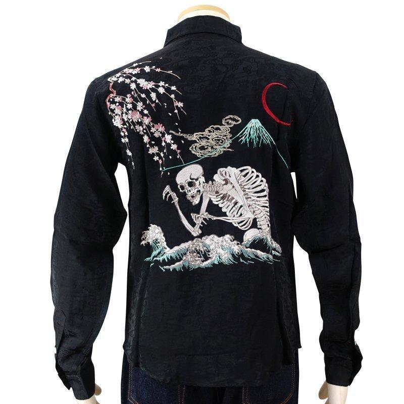 桜とがしゃ髑髏刺繍ジャガードシャツ  LS-001 花旅楽団 和柄|dandara|05