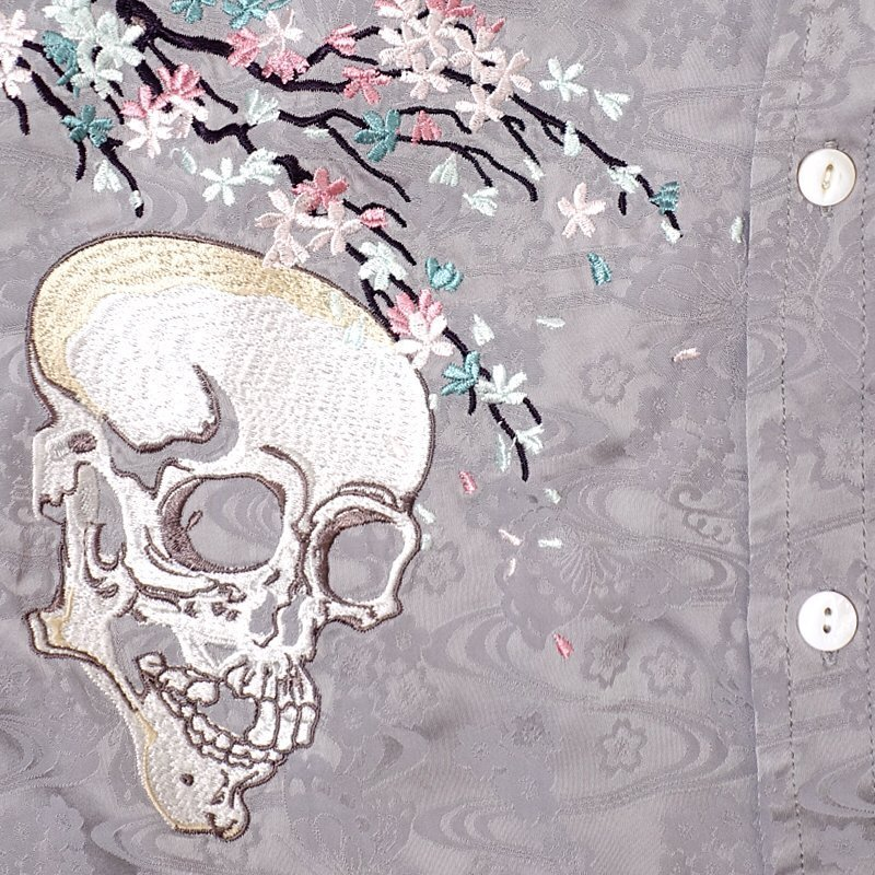 桜とがしゃ髑髏刺繍ジャガードシャツ  LS-001 花旅楽団 和柄|dandara|06