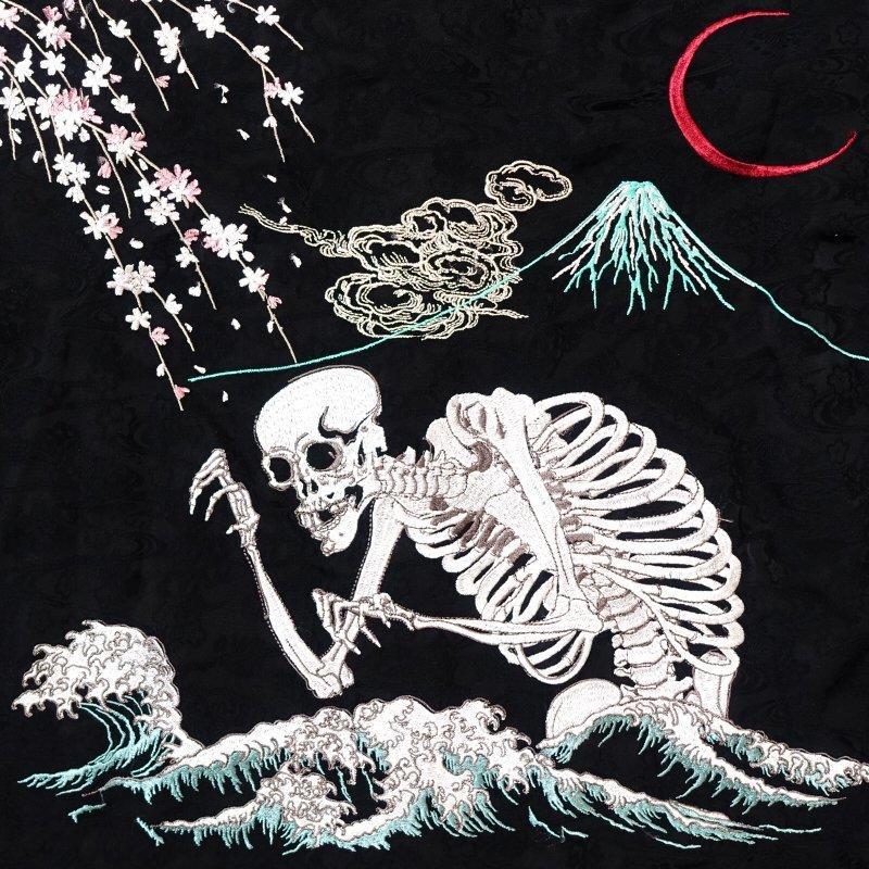 桜とがしゃ髑髏刺繍ジャガードシャツ  LS-001 花旅楽団 和柄 dandara 07