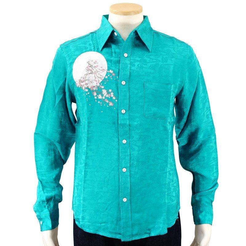 月に白虎刺繍ジャガードシャツ  LS-002 花旅楽団 和柄 dandara 02