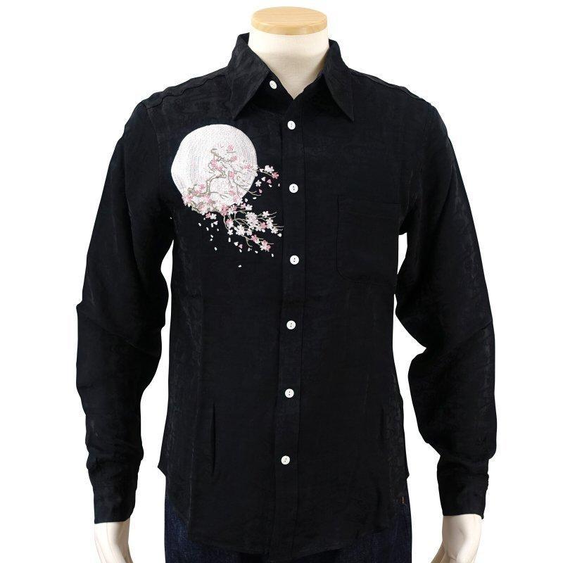 月に白虎刺繍ジャガードシャツ  LS-002 花旅楽団 和柄 dandara 04