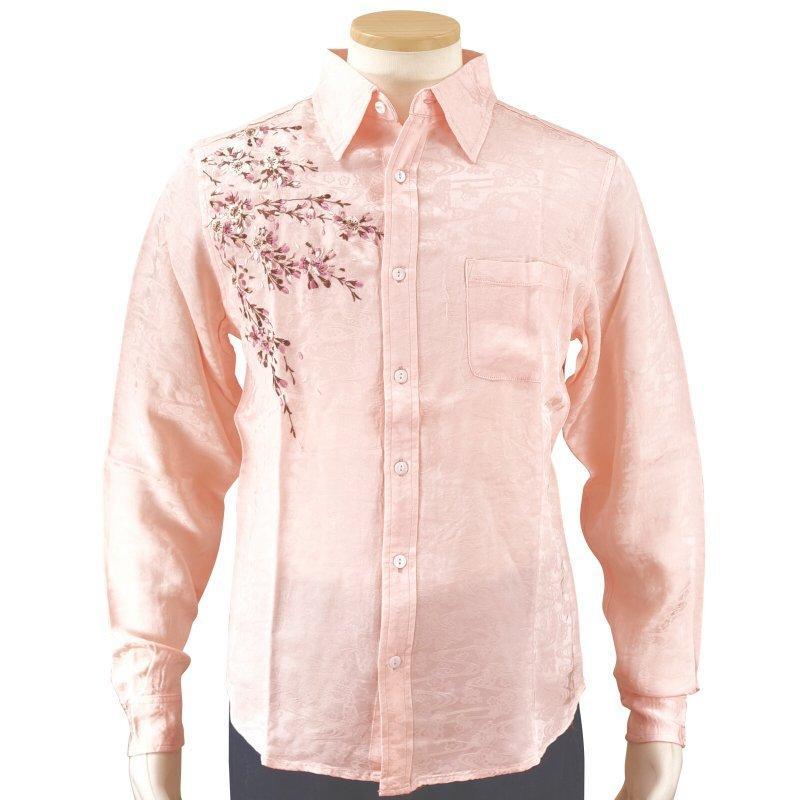 桜刺繍ジャガードシャツ  LS-003 花旅楽団 和柄|dandara|02