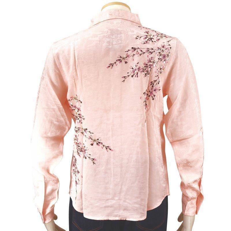 桜刺繍ジャガードシャツ  LS-003 花旅楽団 和柄|dandara|03